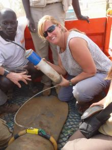Graduate Student Lucy Keith with Manatee